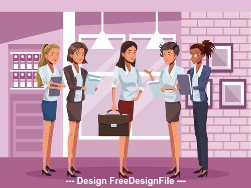 Female boss and female staff cartoon vector