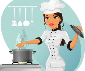 Female chef cartoon vector