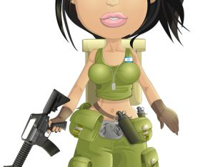 Female mercenaries cartoon pattern vector
