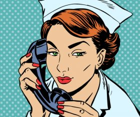 Female nurse comic pop art style vector