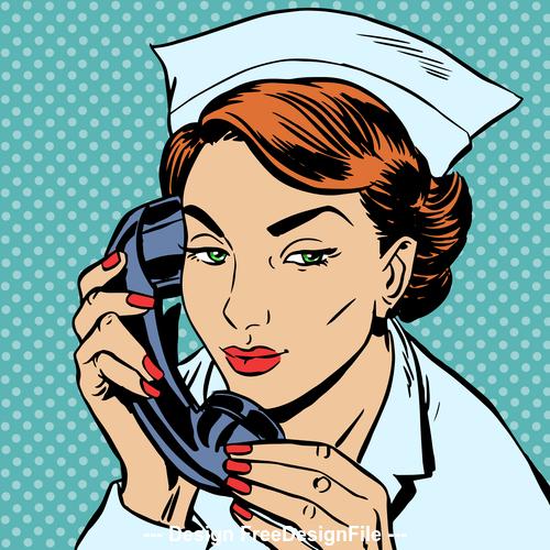 Female nurse comic pop art style vector