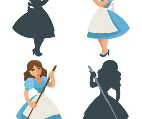Female silhouette cartoon vector