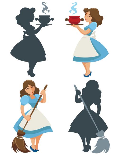 Female silhouette cartoon vector