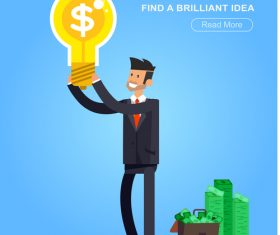 Find a brilliant idea cartoon illustration vector