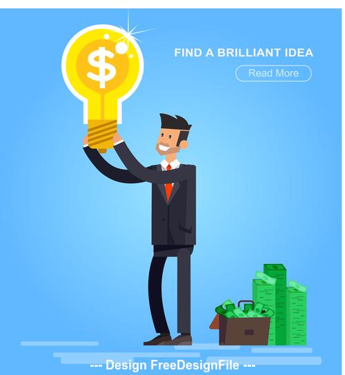Find a brilliant idea cartoon illustration vector