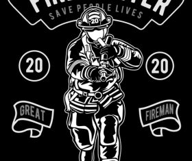 Firefighter emblem design illustrations vector