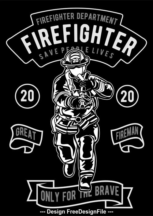Firefighter emblem design illustrations vector