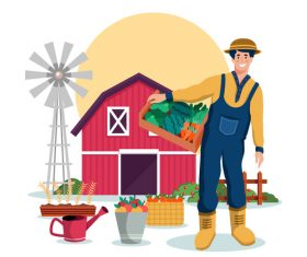 Flat design farm cartoon illustration vector