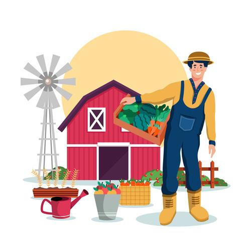 Flat design farm cartoon illustration vector