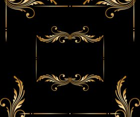 Floral golden ornament frame vector