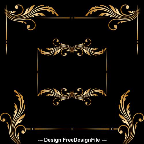 Floral golden ornament frame vector