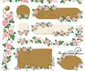 Flower and wood frame vector