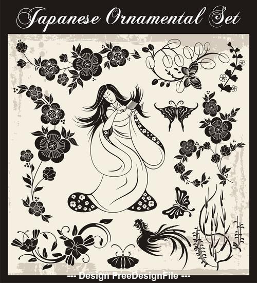 Flower bird japanese traditional illustration vector