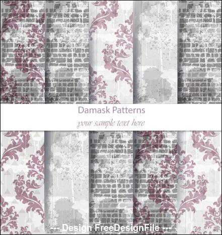 Flower wall background damask patterns vector