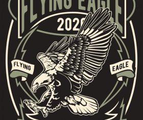 Flying eagle emblem design illustrations vector