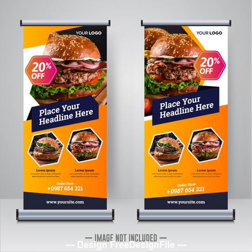 Food roll and banner design template vector