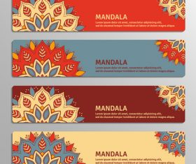 Four mandala flyers banner vector