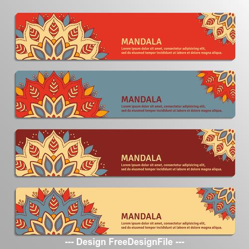 Four mandala flyers banner vector