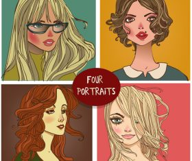 Four women portraits vector
