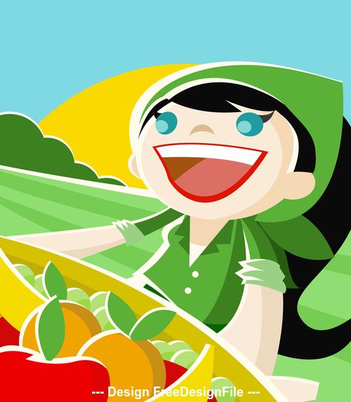 Fruits girl cartoon vector