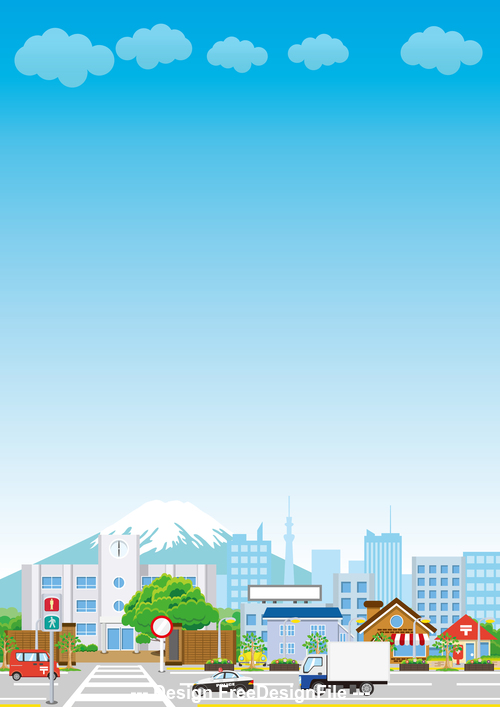 Fuji mountain and city cartoon vector