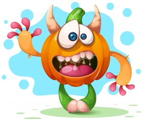 Funny pumpkin cartoon character vector