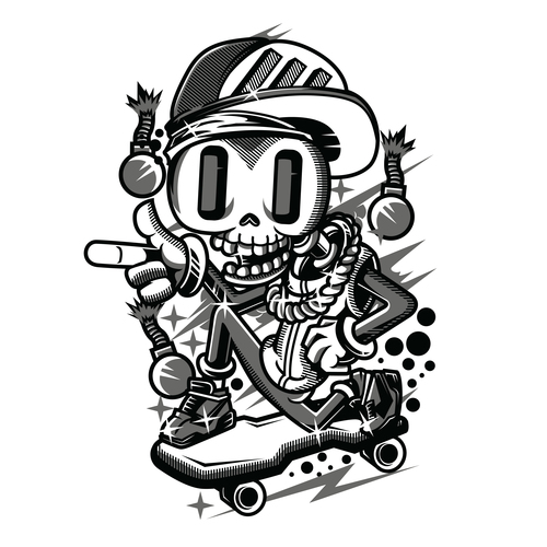 Funny tattoo design hand drawing vector