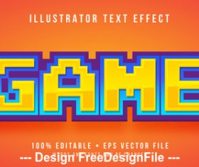 Game editable font effect text vector