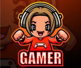 Gamer gaming mascot design vector
