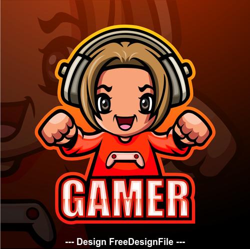 Gamer gaming mascot design vector