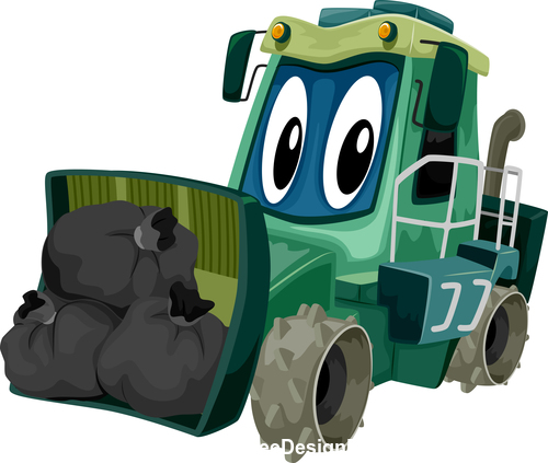 Gar bage compactor cartoon vector
