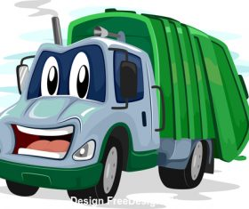 Garbage truck cartoon vector