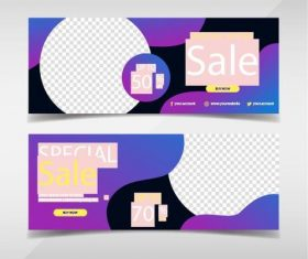 Geometric background promotion banners template vector