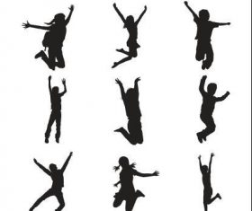 Girl and boy jumping silhouette vector