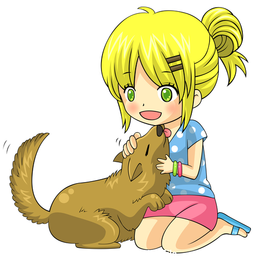 Girl and dog Japanese comic vector