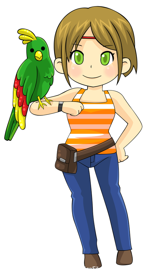 Girl and parrot Japanese comic vector