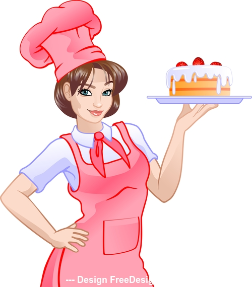 Girl chef in pink and cake vector