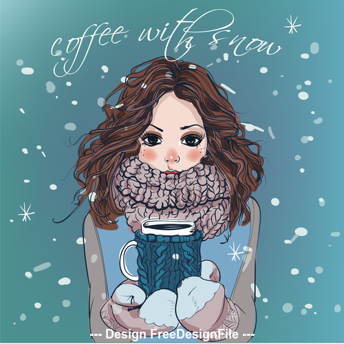 Girl holding coffee cup vector