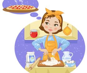 Girl making cake cartoon vector