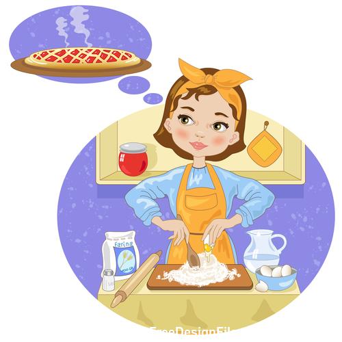 Girl making cake cartoon vector