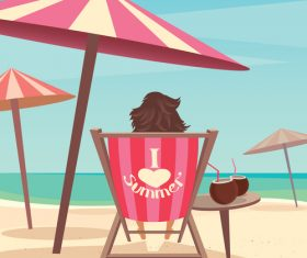 Girl sitting on a deck chair under an umbrella by the sea vector