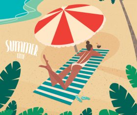 Girl sunbathing on striped beach mat under a parasol on the beach vector