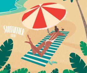 Girl sunbathing on striped beach mat under a parasol on the beach vector