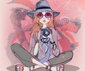 Girl who loves photography vector