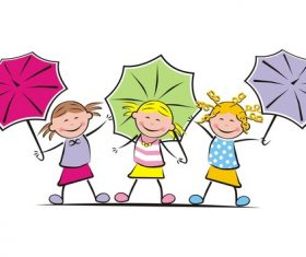 Girls and umbrella vector
