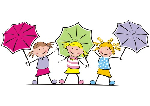 Girls and umbrella vector