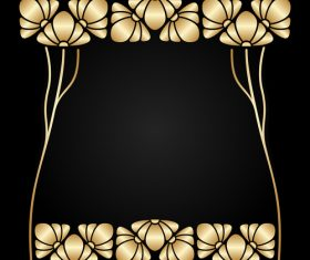 Golden flower frame vector