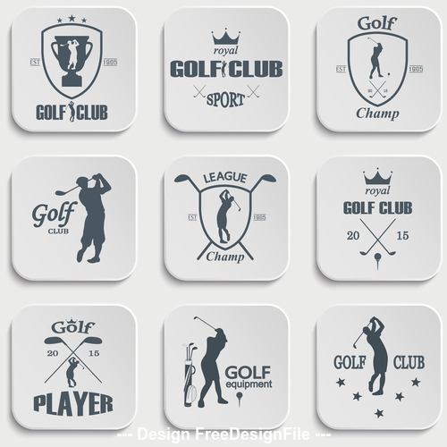 Golf silhouette card vector