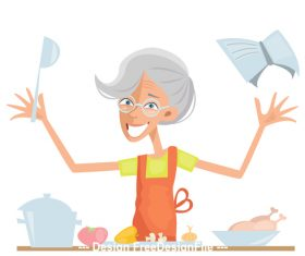 Granny in the kitchen vector