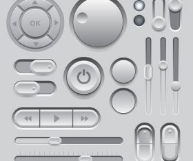 Gray interface button template vector